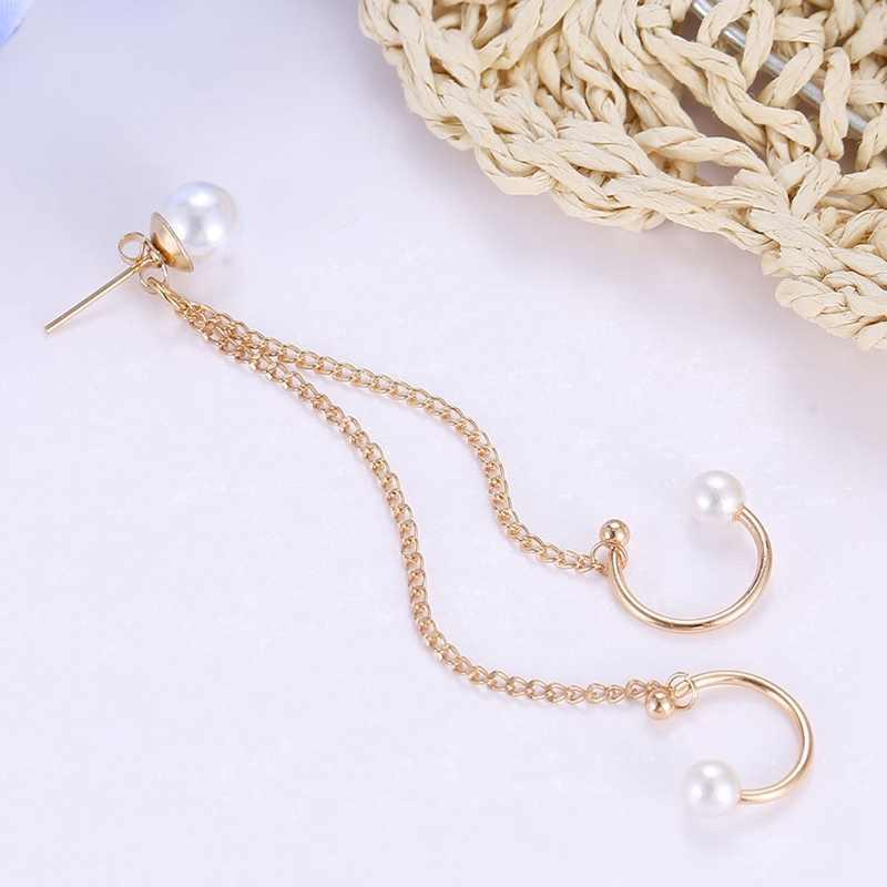 Punk Rock Leaf Chain Tassel Dangle Ear Cuff Bọc Bông Tai Vàng Màu Bông Tai Trong Jewelry 1 cái