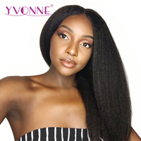 YVONNE Kinky Straight Lace Front Human Hair Wigs For Black Women Brazilian Virgin Hair Natural Color