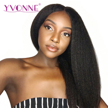 YVONNE 180% Density Kinky Straight Lace Front Human Hair Wigs For Black Women Brazilian Virgin Hair Natural Color Free Shipping