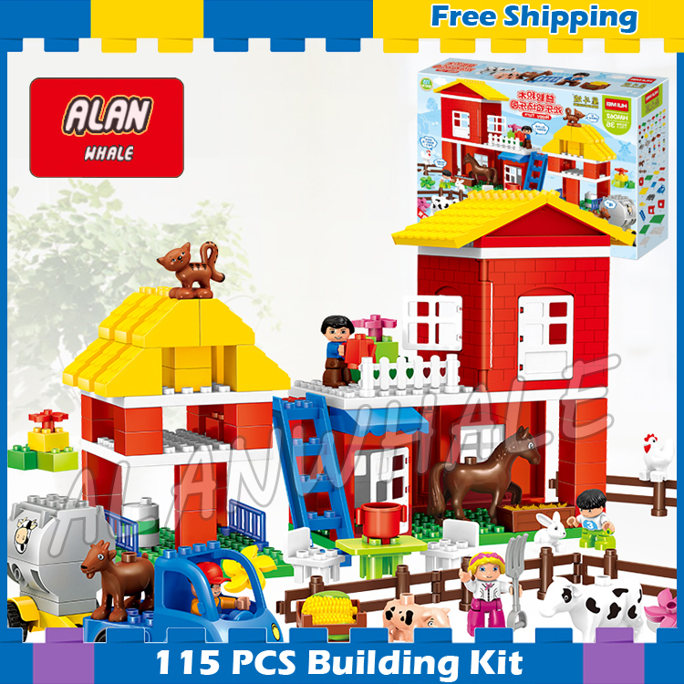 115pcs My First Ville Big Farm Model Big Size Building Blocks Action Bricks 2018 Gifts Sets Toys Kids Compatible With Lego Duplo kazi 608pcs pirates armada flagship building blocks brinquedos caribbean warship sets the black pearl compatible with bricks