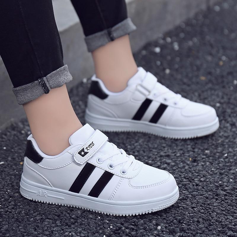 Garçons antidérapant mode baskets enfants chaussures décontractées garçons enfant chaussures plates enfants chaussures en caoutchouc filles étudiants unisexe marche chaussure blanc
