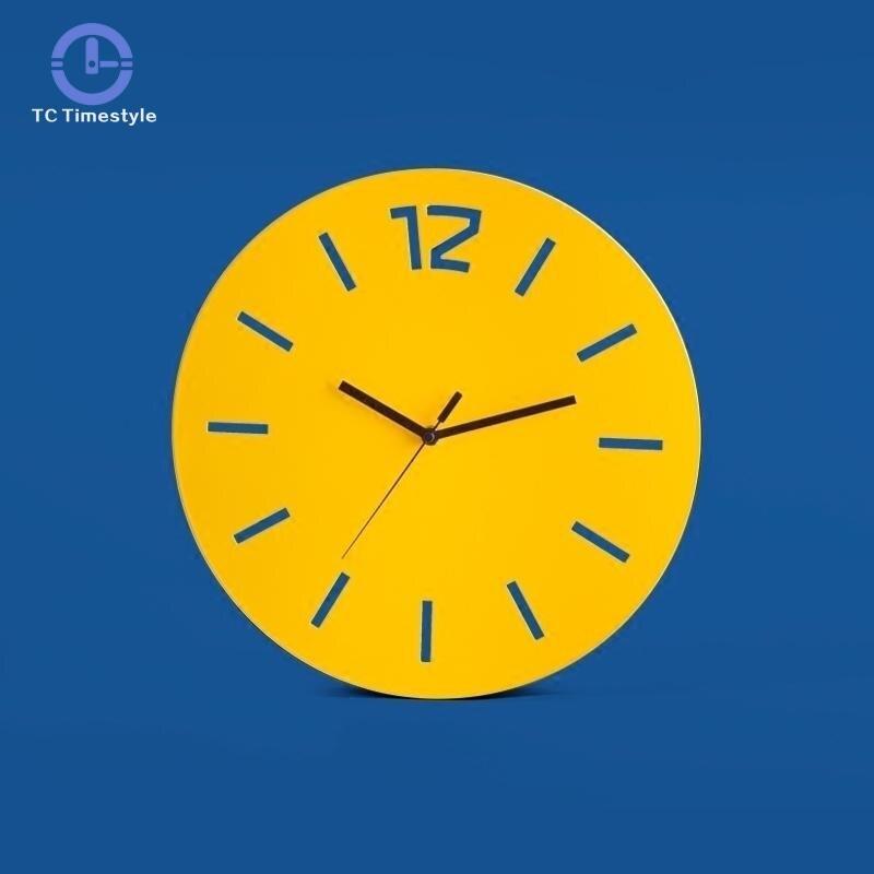 ผนังนาฬิกานาฬิกาควอตซ์ Creative Mute Minimalist Wrought Iron Nordic อิเล็กทรอนิกส์ผนังนาฬิกาบ้านตกแต่งอุปกรณ์เสริม-ใน นาฬิกาแขวนผนัง จาก บ้านและสวน บน   1