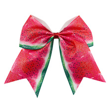 Adogirl 4 pcs 6-7 inch Watermelon Hair Bows with Clips Girls Kids Headwear Fashion Party Accessories Boutique Hairpins