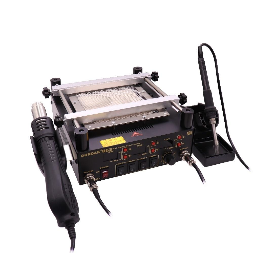 Gordak 863 3 in 1 Digita Hot Air Heat Gun BGA Rework Solder Station Electric Soldering iron IR Infrared Preheating Station цены онлайн