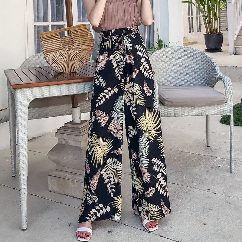 Pottis Flower pants 2018 new high waist fashion wide leg pants large size bohemian wide leg pants chiffon print casual pants