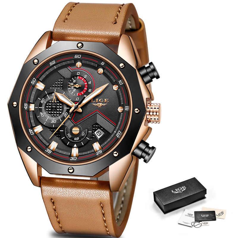 LIGE для мужчин s часы лучший бренд класса люкс кварцевые золотые часы повседневное кожа Военная Униформа водонепрониц
