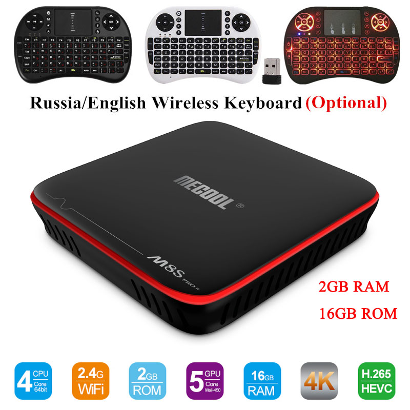цена на MECOOL M8S PRO W Android 7.1 TV Box Amlogic S905W 2G RAM 16G ROM CPU Mali-450 Support 2.4GHz WiFi 4K H.265 Set-top Box Media