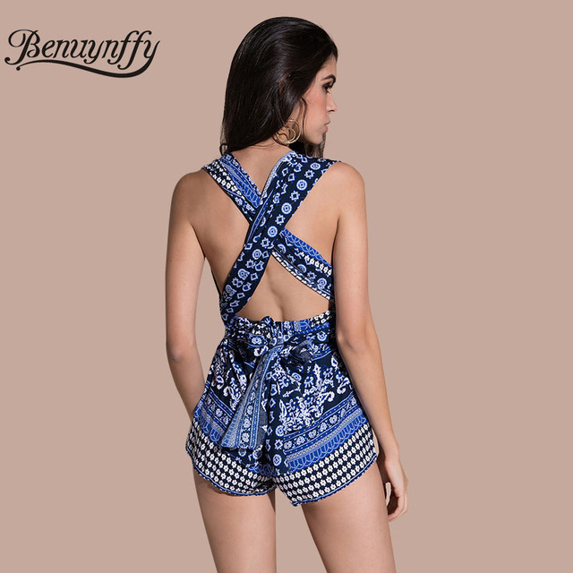17620adc40 Benuynffy Deep V Neck Boho Print Playsuit Women Beach Wear Sexy Bow Tie  Rompers Womens Jumpsuit