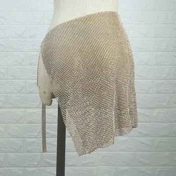 2019 nueva mujer brillante cadena metálica de strass Sexy Club falda Minni femenino de lujo oro de plata brillante Nightclub Wear faldas de fiesta