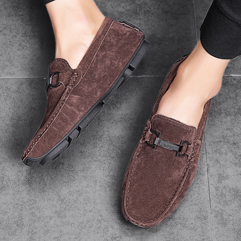 Loafers Men Shoes Pig Suede Leather Loafer Casual Shoes Mens Flats 2019 Moccasins Slip On For Men Car Driving Shoes Male Brown