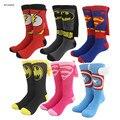 EE. UU. Wonder Woman Superman capitán américa Batman Cabo Calcetines tripulación del equipo del partido de cosplay medias para hombres mujeres niños niños