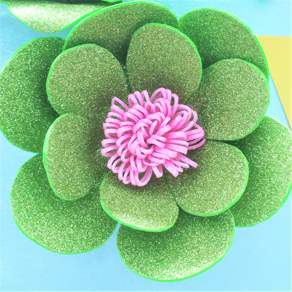 2019 Giant Glittered Foam Flowers Handmade Lime Large Rose Set For Nursery Wedding Birthday Backdrop Home Wall Decoration in Artificial Dried Flowers from Home Garden