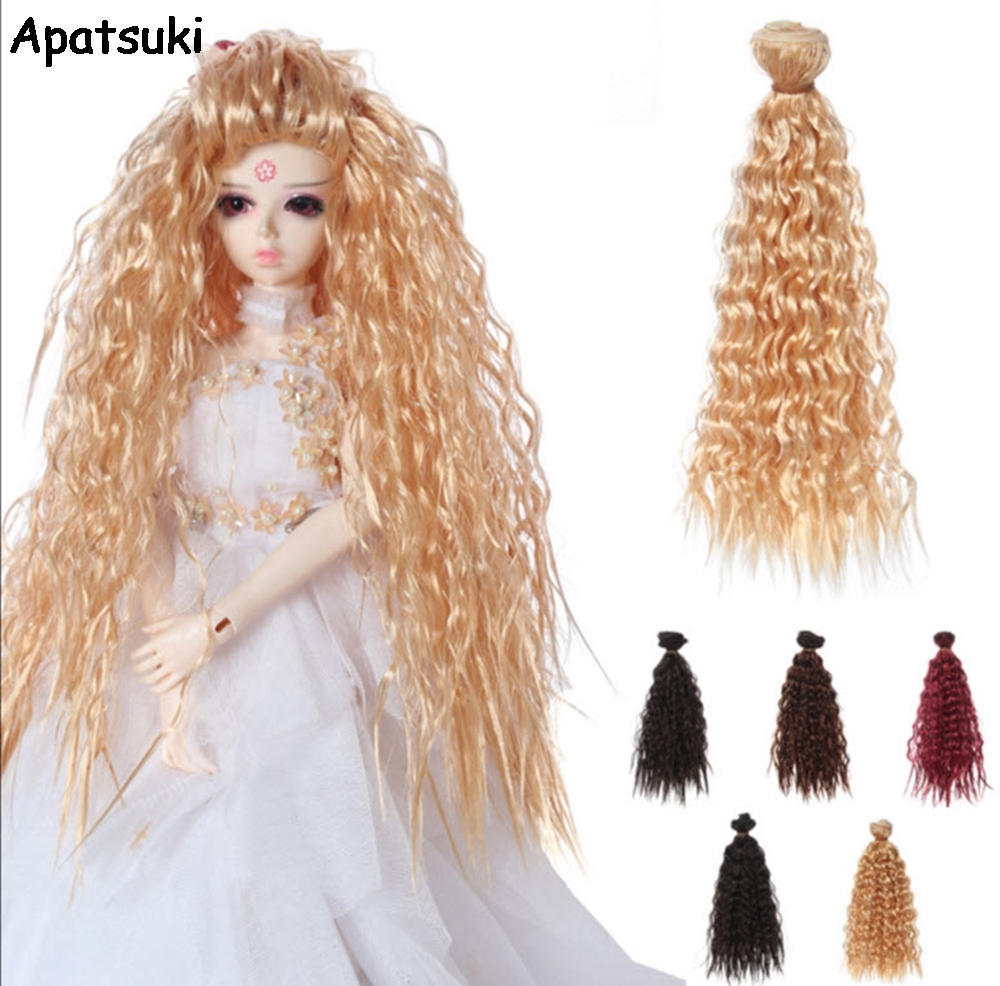 25 см * 1 м кукла Искусственные парики для куклы Барби DIY куклы волосы вьющиеся волосы волнистые Искусственные парики Золотой Вино коричневый ...