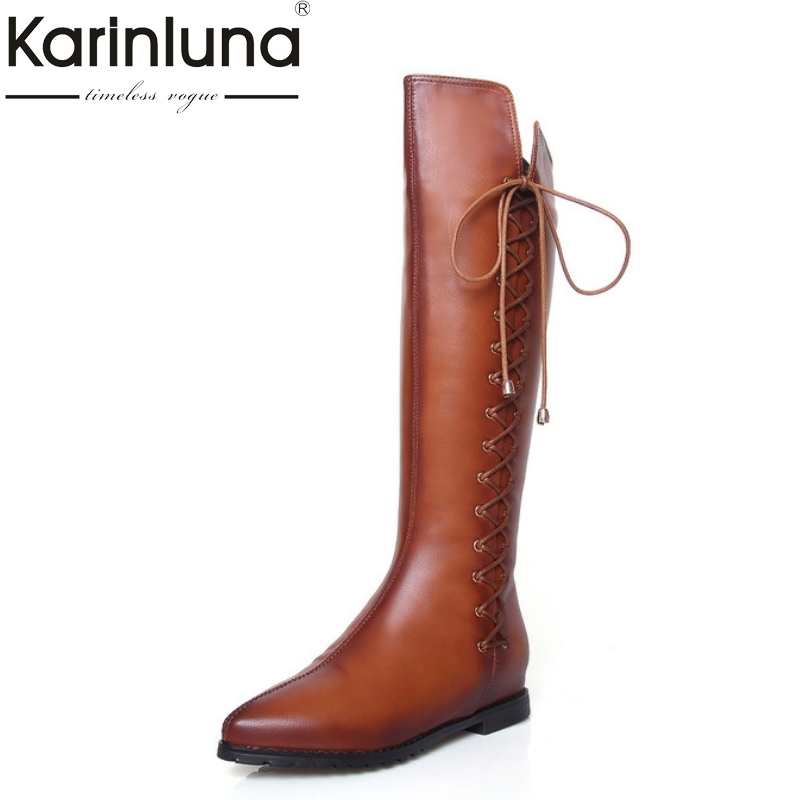 2016 big size 33-43 Real Genuine Leather Women Boots Fashion Plush Knee High Boots Sexy Pointed Toe Woman Shoes Winter Fur
