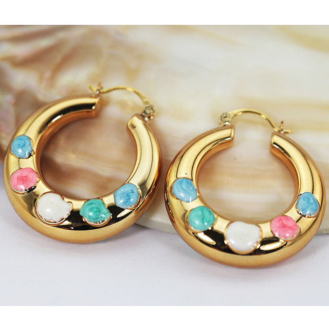 Lovely Fashion Jewelry Copper Hoop Earrings Birthday Gift Colorful Enamel Gold Hoops Bride
