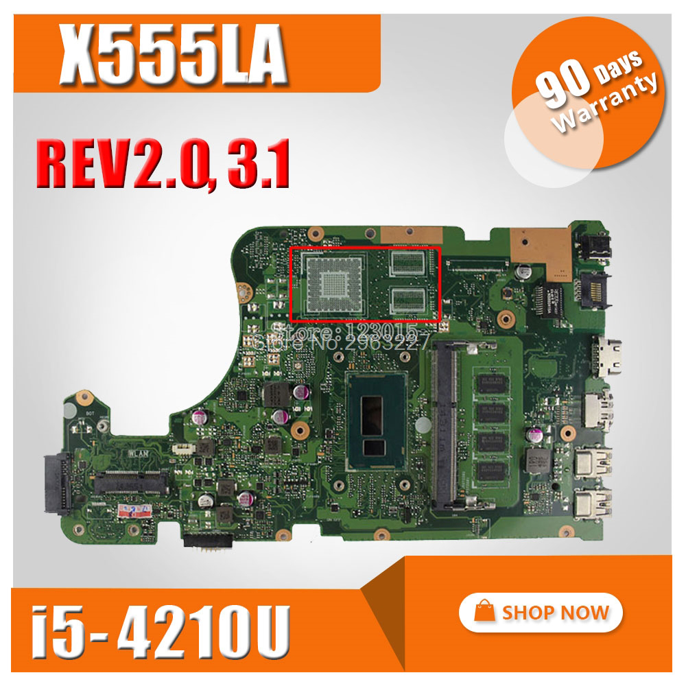 X555LA Motherboard For Asus X555LA X555LD REV 2.0, 3.1,3.3,3.6 Mainboard I5-4210U 4G HD Graphics 4400 100% Tested