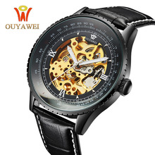 лучшая цена OUYAWEI Black Male Clock Men Relogios Skeleton Men Watches Top Brand Luxury Montre Homme Leather Wristwatch Men Mechanical Watch