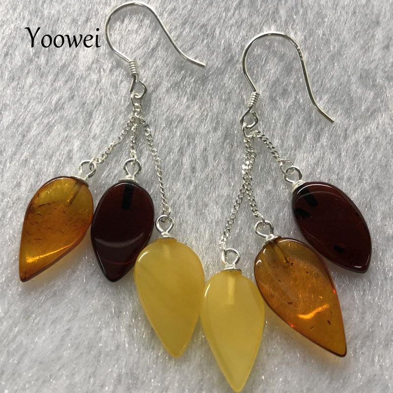 Yoowei New Baltic Amber Earrings for Women Multicolor Teardrop Shape Real Natural Amber Dangling Earrings Leaf