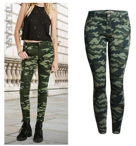 2019 Womens Spring And Summer Skinny Jeans Military Camouflage Pants Female Uniform Capris Pants Plus Size Pencil Trousers K176