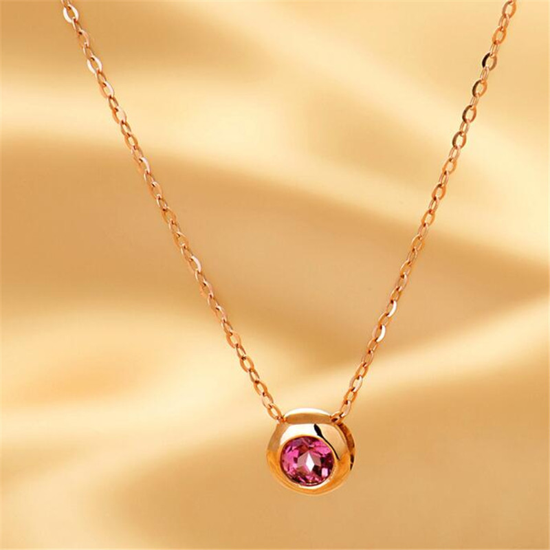 Women Fashion Red Tourmaline Real 18K Gold Pendant Necklace Round Natural Red Tourmaline Round Circle Design For Wedding Engagem