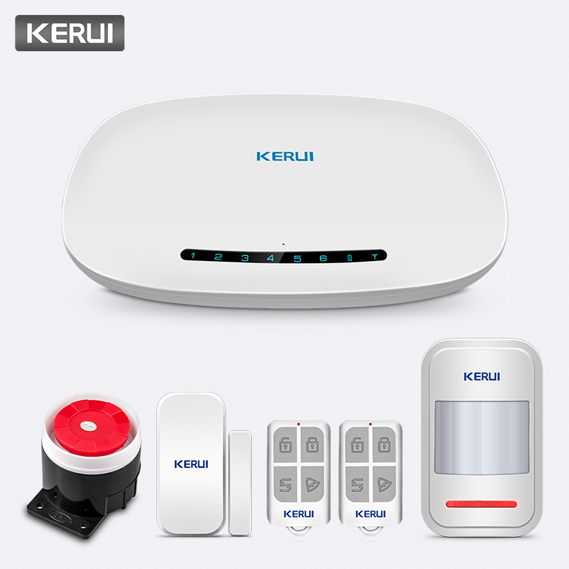 KERUI W19 Wireless Phone APP Remote Control Message Push Auto Dial Home Security GSM Alarm System with IP Camera Solar Siren Kit-in Alarm System Kits from Security & Protection