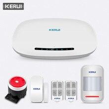 KERUI W19 تطبيق هاتف لاسلكي يعمل بالريموت كنترول يعمل بالدفع التلقائي نظام إنذار GSM لأمن المنزل مزود بكاميرا IP مجموعة صفارة الإنذار الشمسية