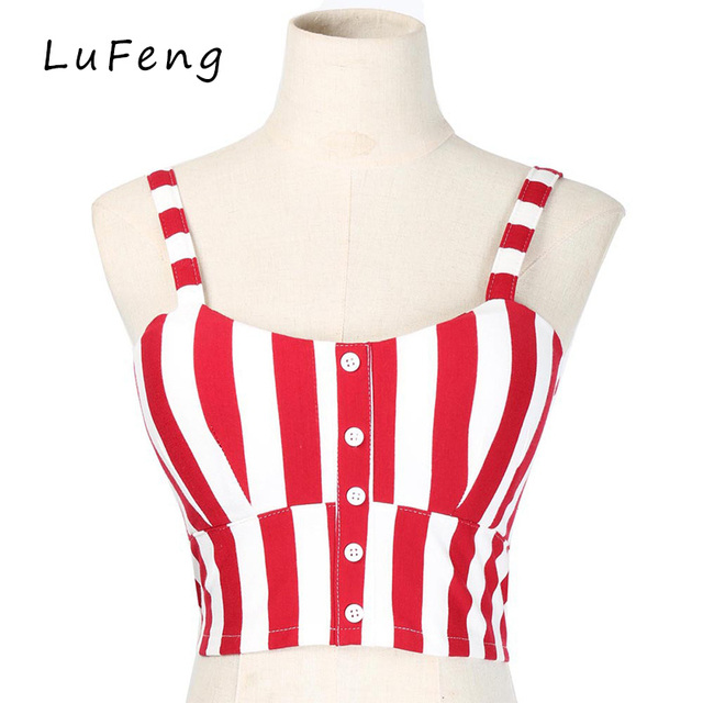 eb1cf628241f09 Sexy Striped Tank Top Button Front Short Vest Tops 2017 Red White Black  Croped Sleeveless Brassiere