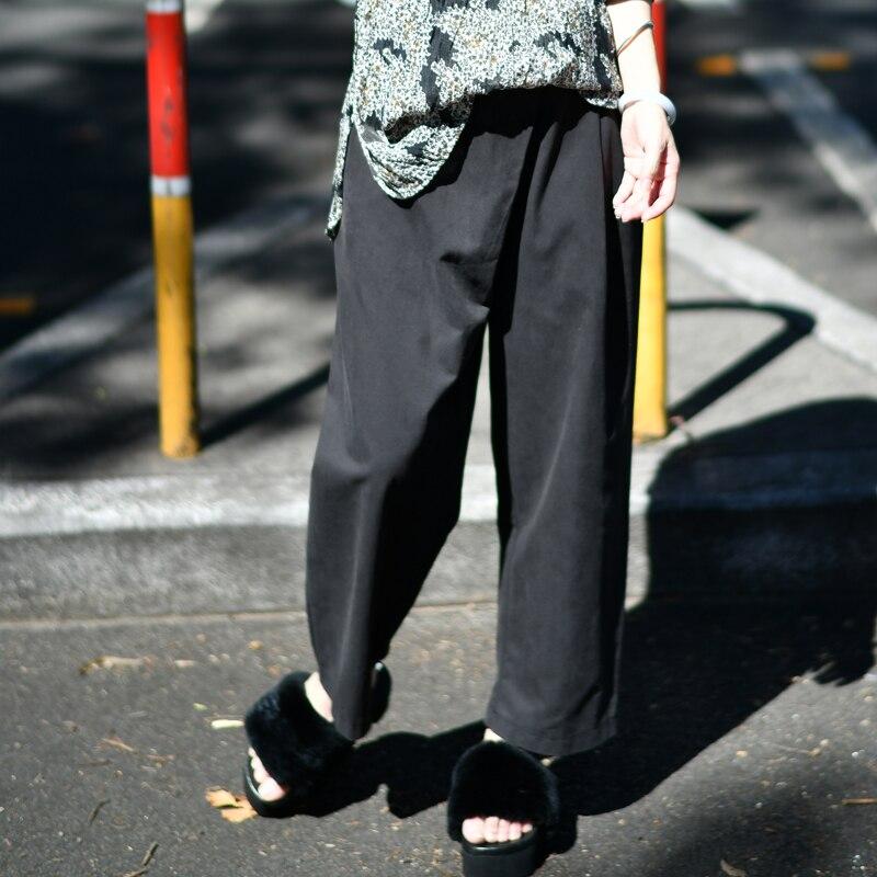 K5302 Artistic big size wide waist shows thin joker nine cent pure cotton casual pants