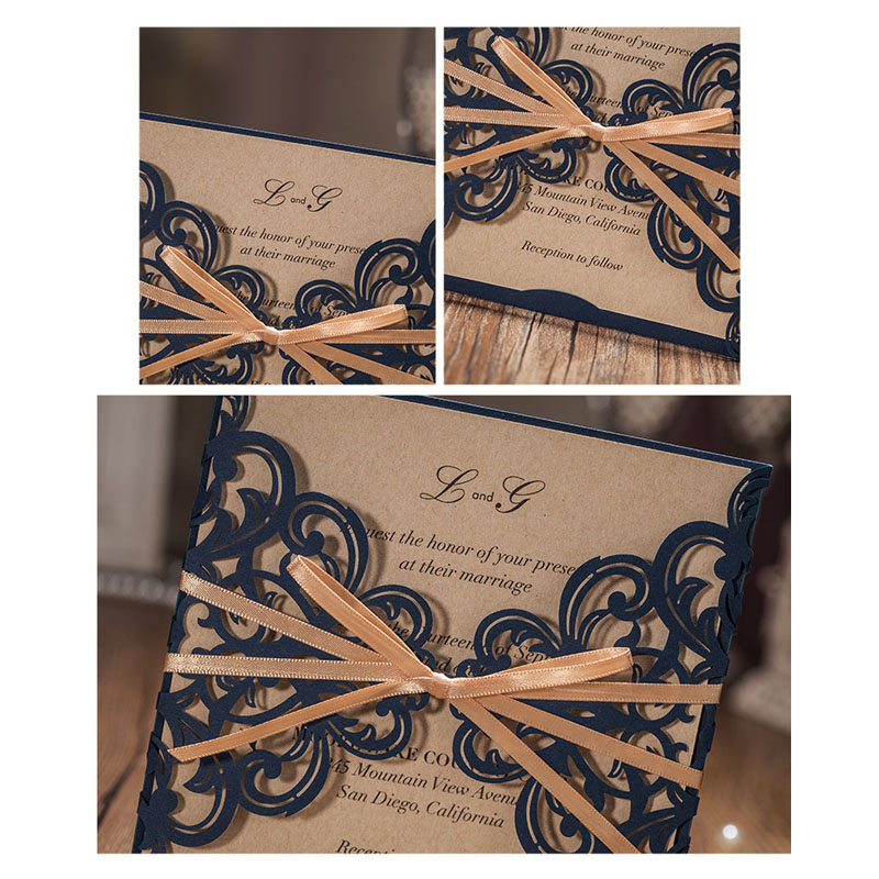1pcs Sample Royal Blue Laser Cut Wedding Invitations Card Greeting