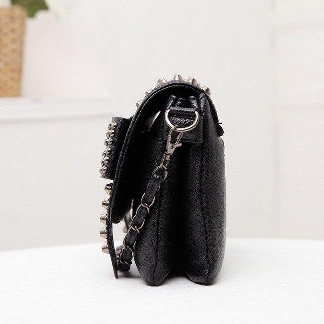 DIINOVIVO 2021 New Rivet Women Bag PU Leather Shoulder Bags Skull Bag Punk Crossbody Bags For Women Chain Messenger Bag WHDV0934 3