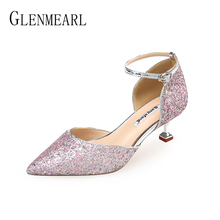 Women High Heels Brand Woman Pumps Bling Pointed Toe Sexy Female Party Shoes Wedding Shoes Spring Summber Heels Plus Size DE цена и фото