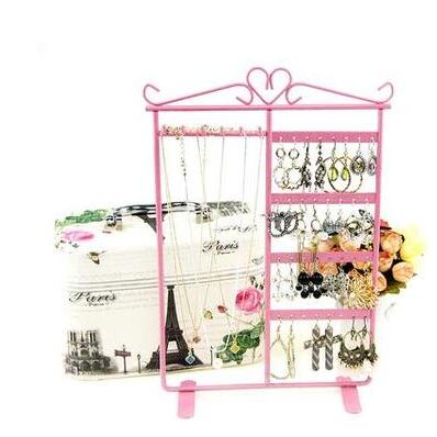 32 hole Jewelry Display Stand Holder Earring Display Stand Iron Wall Frame Necklace Holder Accessories Base Storage Dro 1pc C172 in Figurines Miniatures from Home Garden