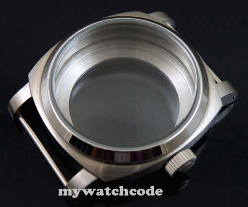 44mm 316L stainless steel watch case bow glass for 6497 6498 movement 18 46mm matte silver gray stainless steel watch case fit 6498 6497 movement watch part case with mineral crystal glass