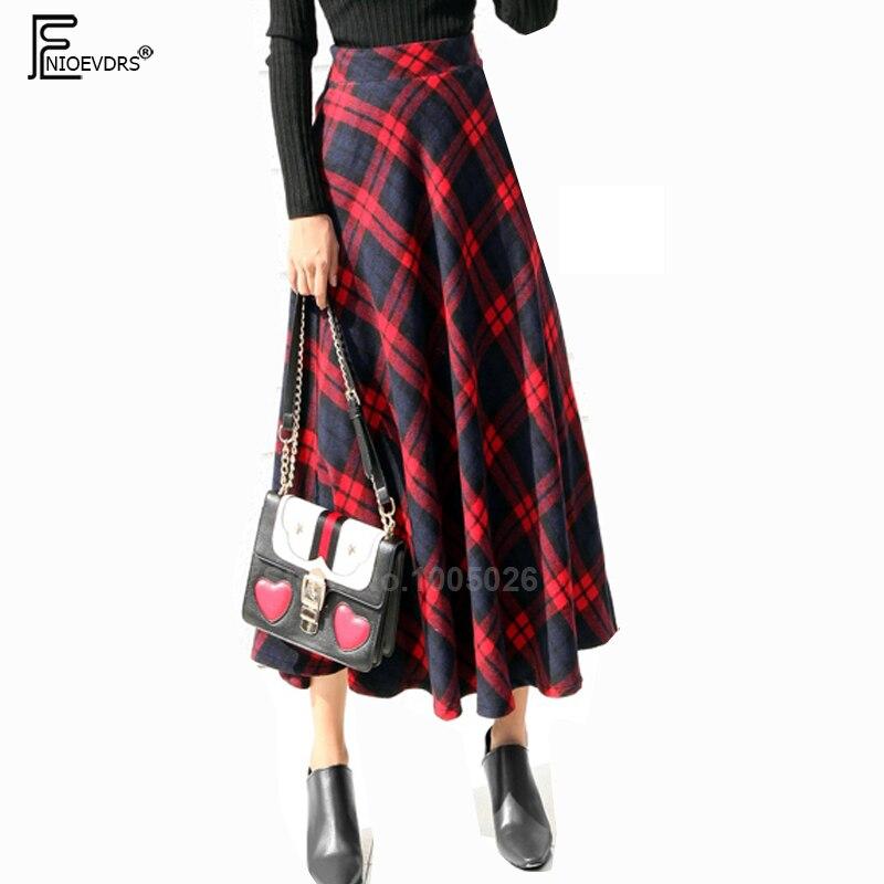 Elastic High Waist Skirts Women Fashion Hot Design Elegant Office Lady Work Winter Cute Green Red Plaid Skirt Long 8221