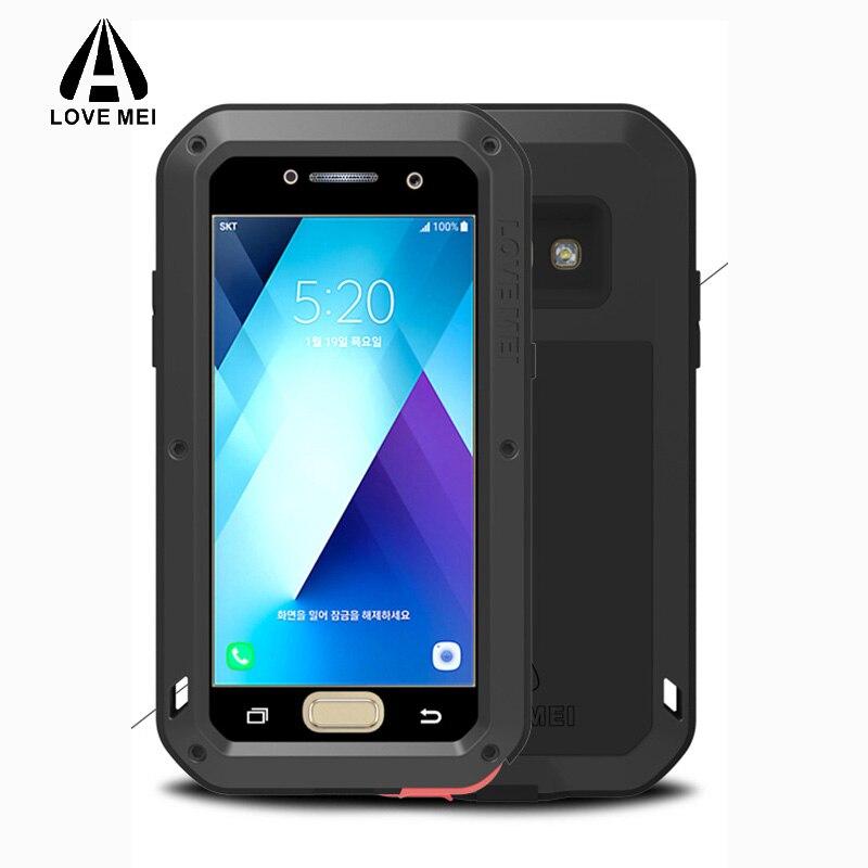 Pour Samsung Galaxy A3 A2017 A5 étui 360 protection complète armure antichoc luxe verre métal Silicone pour Samsung A520F A320F