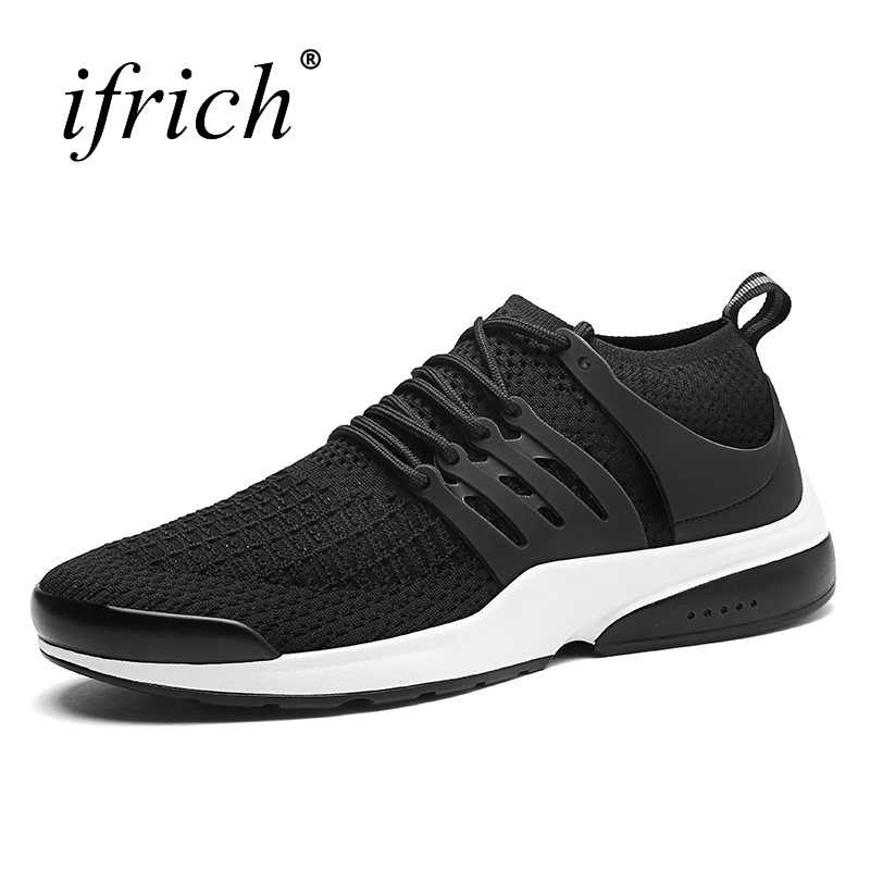 Ifrich New Arrival Shoes Sport Men Running Lace Up Male Walking Shoes Comfortable Black  ...
