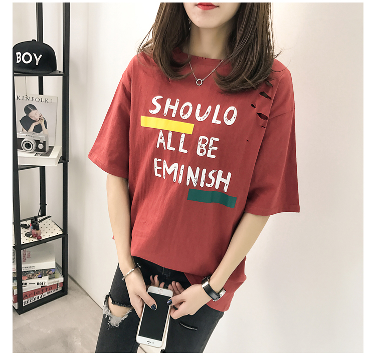 XL- 4XL 2019 new plus size summer loose High Street hole Letter print short sleeve O-Neck women T-shirt top tee TY5 25