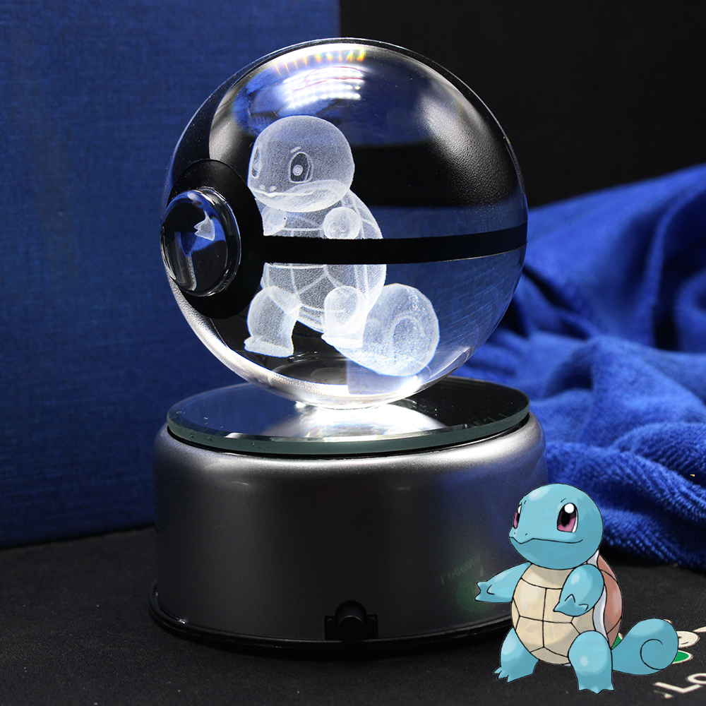 Hot Sale Squirtle Pokemon Ball Crystal Pokemon Monster With Led BaseHot Sale Squirtle Pokemon Ball Crystal Pokemon Monster With Led Base