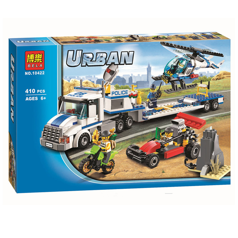 410pcs Bela 10422 Urban City Police Force Helicopter Truck Building Block Toys Compatible With Legoe City bela 394pcs urban city police model building block toy fluidity police pursuit for prisoners