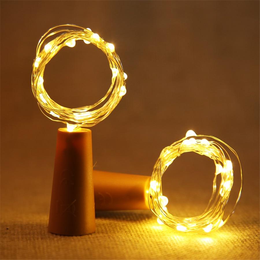 BEIAIDI 1PC Copper Wire LED Fairy String Light 10LED 20LED Wine Bottle Stopper Light DIY Glass Bottle Christmas Wedding Garland