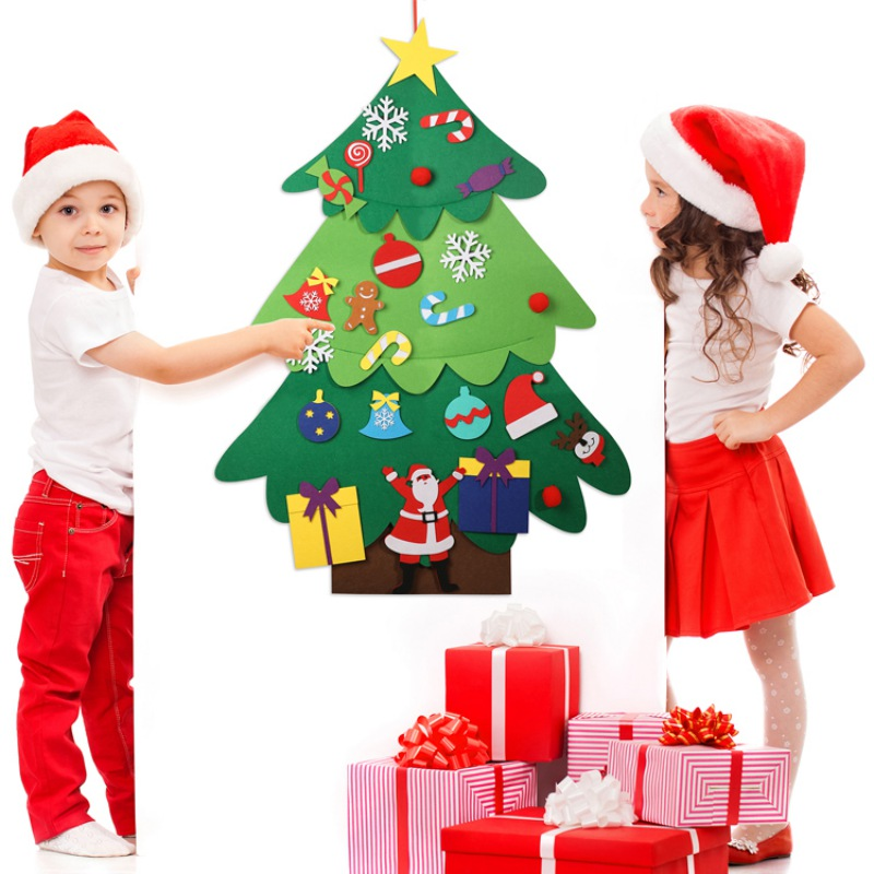Felts Christmas Tree With 22pcs Removable Christmas Decoration Sticker DIY Christmas Tree Ornament For Kids Home Decor in Trees from Home Garden