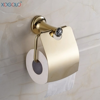 Xogolo Stainless Steel Crystal Mosaic Luxury Gold Wall Mounted Toilet Paper Holder Roll Holder For Bathroom Accessories