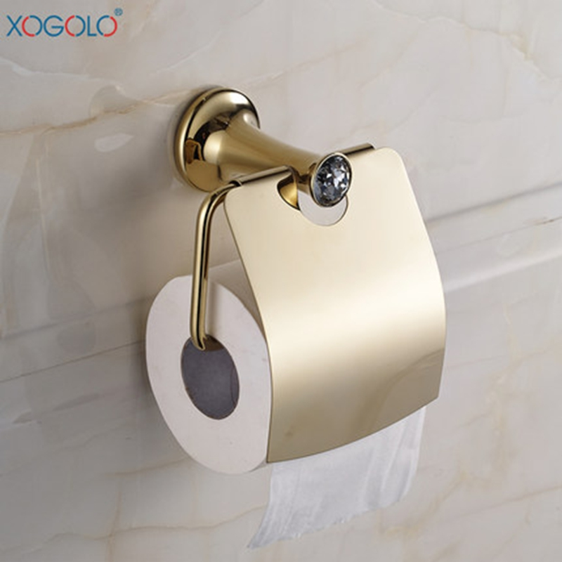 ФОТО Xogolo Stainless Steel Toilet Roll Holder Fashion Gold Crystal Mosaic Bathroom Towel Paper Holder Rack Accessories