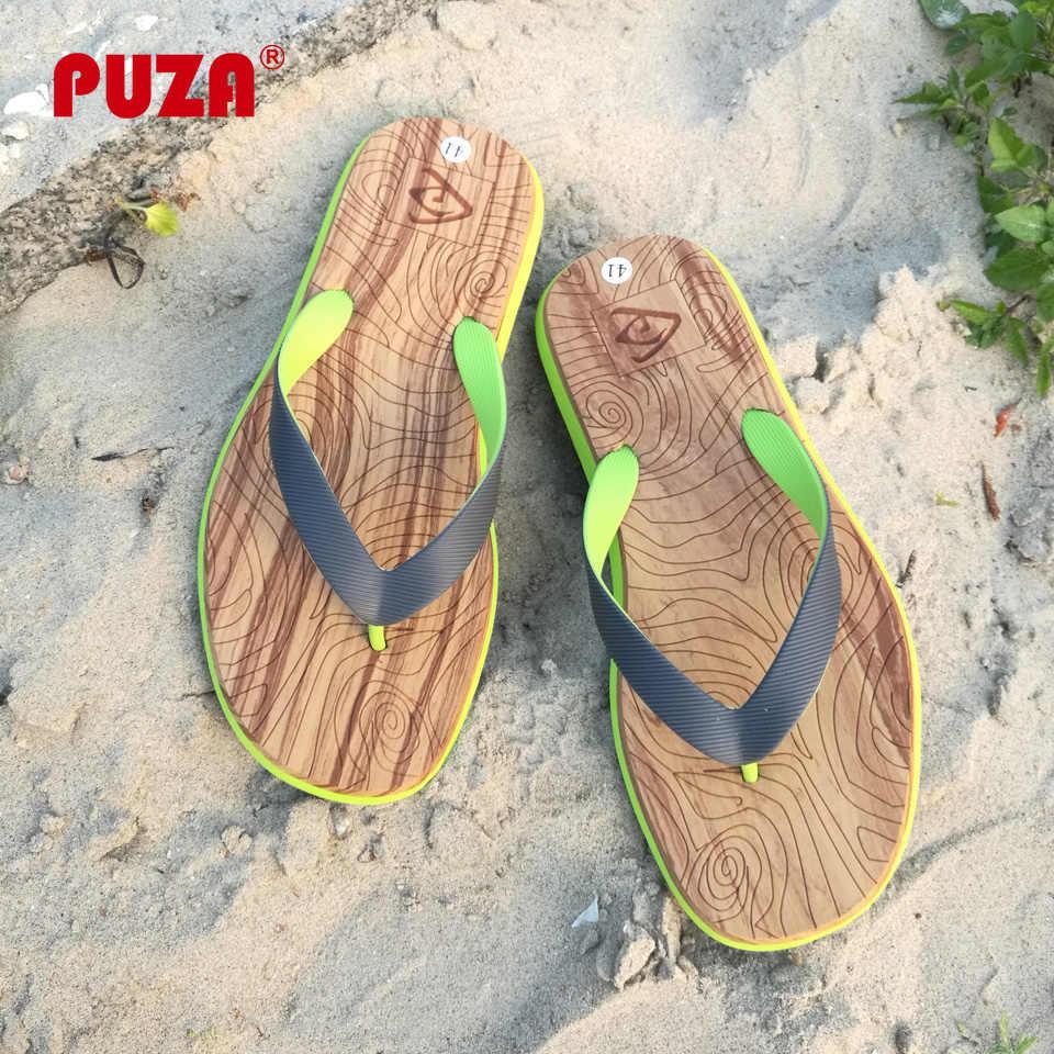 c6439d2a4278 PUZA New Summer Flip Flops Men Print Slip on Massage Slippers Flat Beach Sandals  Mens Non
