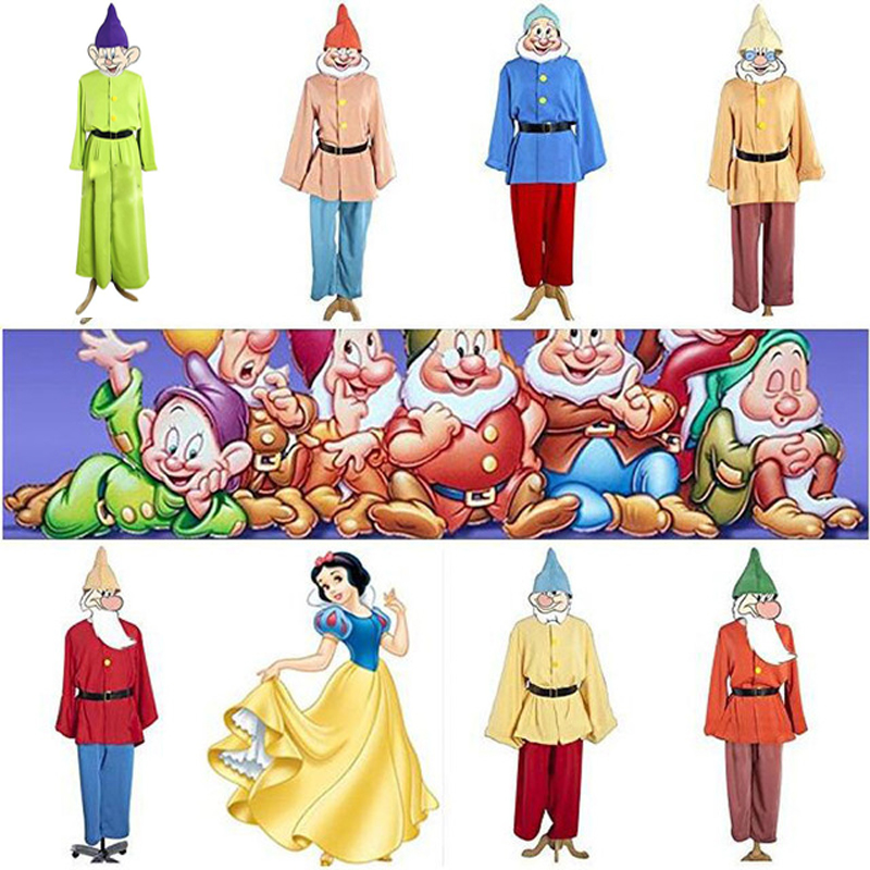 Blanche neige et sept nains Costume uniforme Costume Halloween carnaval adulte Cosplay Costume
