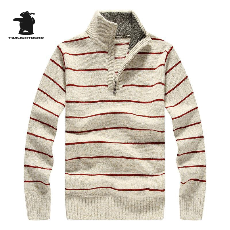 Brand New Mens Sweater Winter Designer Fashion Zipper Wool Thicken Casual Striped Jacquard Sweater Men Pullovers S~2XL BF7812