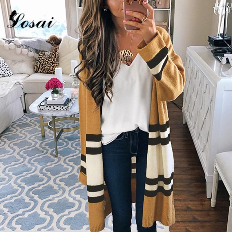 2018 Otoño Invierno suéteres moda mujer manga larga suelta de punto ...