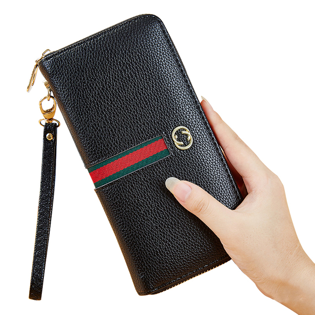 84d3d7a9334e4 Długi portfel czarny PU moda telefon komórkowy sprzęgła ramka na fotografię kobieta  prezent zamek portfel damski