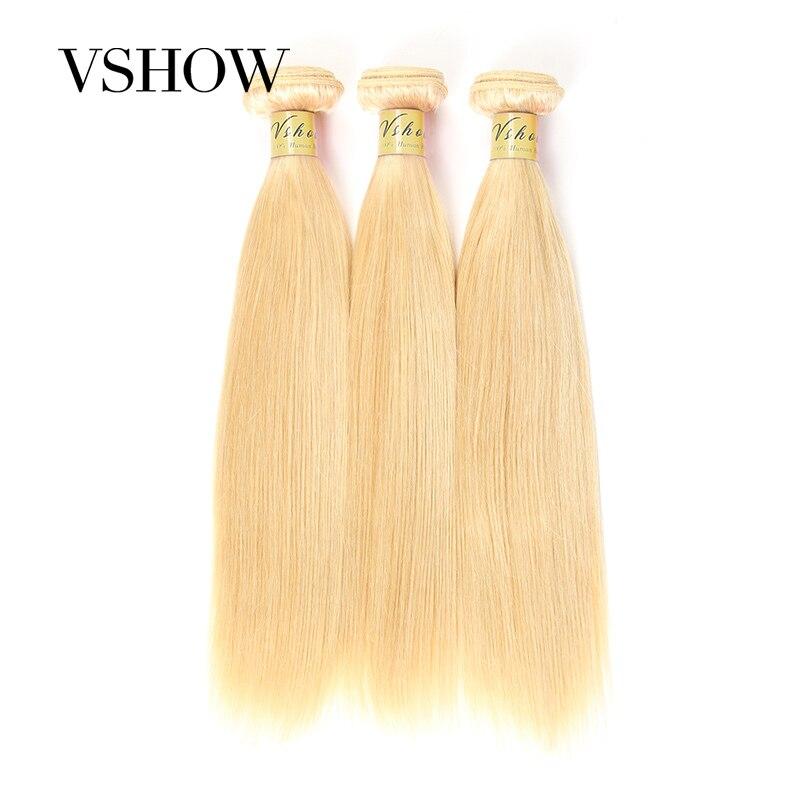 VSHOW cheveux brésiliens cheveux raides armure de faisceaux complet 613 couleur Blonde Remy 100% Extensions de cheveux humains 10-24 pouces livraison gratuite