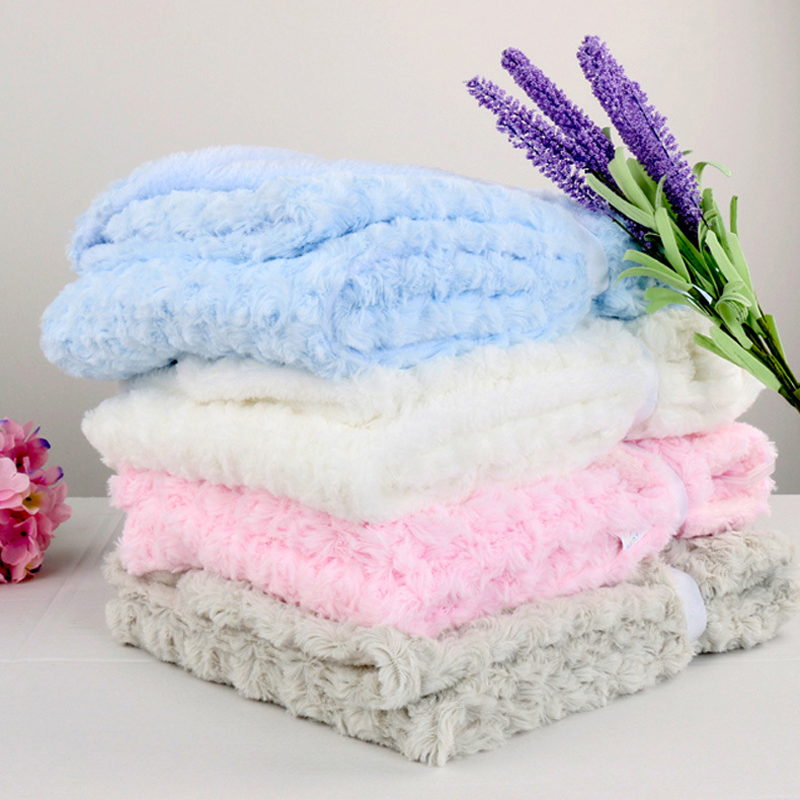 Double Rose Cashmere Baby Blankets Newborns Swaddle Wrap Super Soft Cute Spring Autumn Knitting Bed Infant Blanket 76 X 102 CM